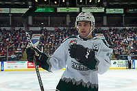 KELOWNA, BC - SEPTEMBER 28:  Bryce Kindopp #19 of the Everett Silvertips skates to the bench to switch lines against the Kelowna Rockets at Prospera Place on September 28, 2019 in Kelowna, Canada. (Photo by Marissa Baecker/Shoot the Breeze)