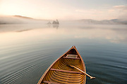 Canoeing on Lake Ninevah in Mount Holly, Vermont.