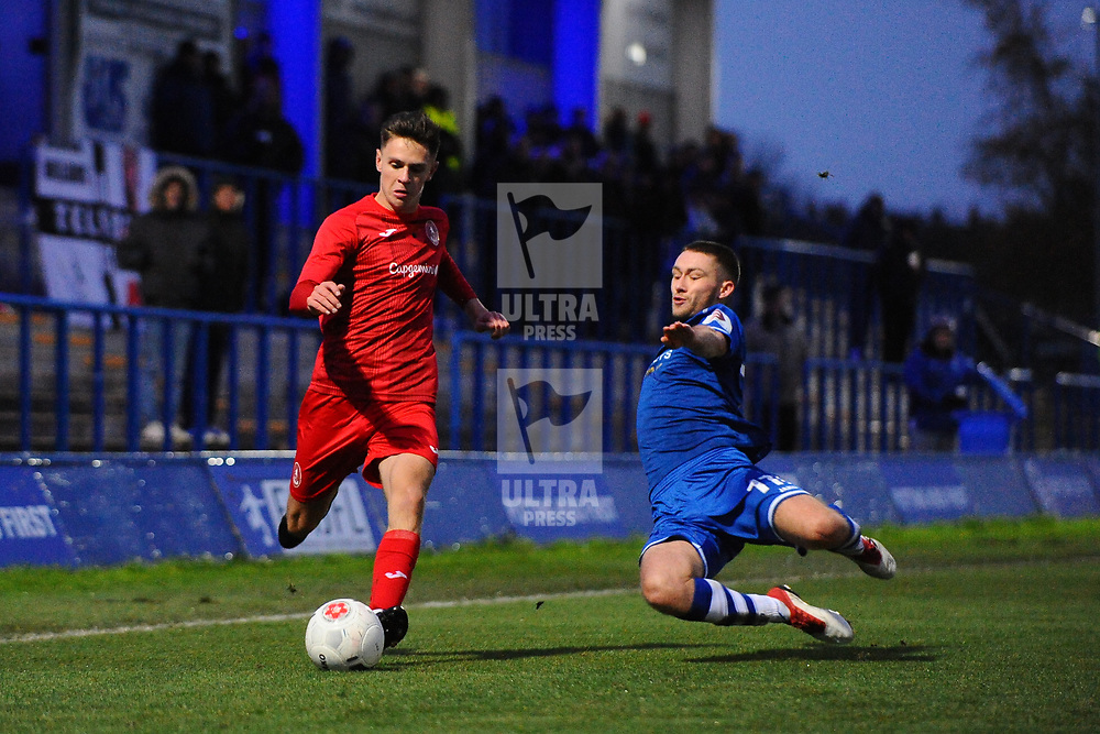 TELFORD COPYRIGHT MIKE SHERIDAN Ryan Barnett of Telford (on loan from Shrewsbury Town FC) during the Vanarama National League Conference North fixture between Curzon Asthon and AFC Telford United on Saturday, November 9, 2019.<br /> <br /> Picture credit: Mike Sheridan/Ultrapress<br /> <br /> MS201920-028