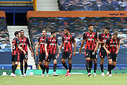 Goal - Bournemouth  celebrate Bournemouth midfielder Jefferson Lerma (8) goal 1-2 during the Premier League match between Everton and Bournemouth at Goodison Park, Liverpool, England on 26 July 2020.