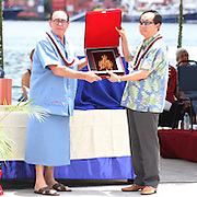 Unique and special gifts were presented by corporate associates and well wishers to Renato Curto at the STP/TriMarine Cannery Innauguration ceremonies and festivities, Satala, Tutuila, American Samoa. 1/24/15,  Photo by Barry Markowitz.