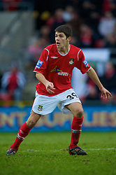 WREXHAM, WALES - Saturday, February 14, 2009: Wrexham's Ryan Flynn, on loan from Liverpool, in action against Grays Athletic during the Blue Square Premier League match at the Racecourse Ground. (Mandatory credit: David Rawcliffe/Propaganda)
