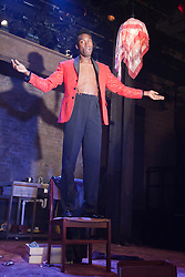 """© Licensed to London News Pictures. 30/01/2012. London, England. Nathan Stewart-Jarrett performing. """"The Pitchfork Disney"""", a searing, disturbing vision of fear, sexuality and the effects of random violence written by Philip Ridley opens at the Arcola Theatre, Hackney. Directed by Edward Dick. Photo credit: Bettina Strenske/LNP"""