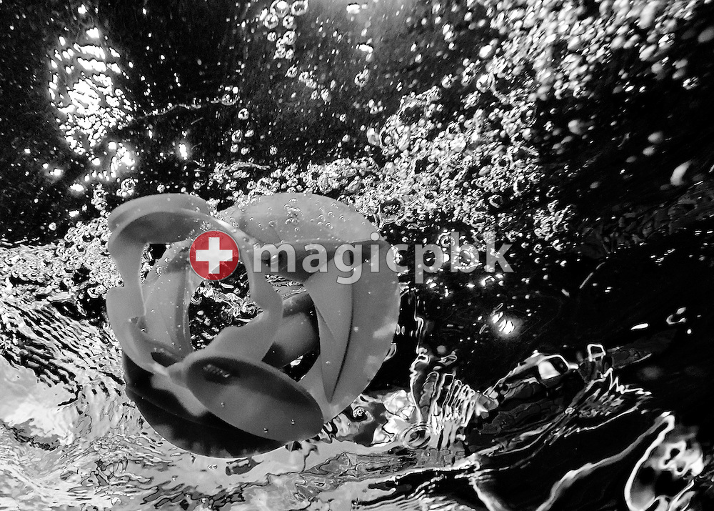 (EDITORS NOTE: Image has been converted to black and white.) Speedo's Hydro Resistant Arm Trainer is pictured during an Aqua Fitness lesson during the 1st Speedo Aqua-Fit Convention held in Affoltern, Switzerland, Saturday, Sept. 3, 2011. (Photo by Patrick B. Kraemer / MAGICPBK)