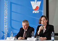 """Warsaw, Poland - 2017 April 19: (R) Malgorzata Lowkis - Przybyniak - Deputy President of Blind Tennis Poland speaks while press conference during official visit of International Tennis Federation (ITF) at """"Orzel"""" Tennis Club  on April 19, 2017 in Warsaw, Poland.<br /> <br /> Mandatory credit:<br /> Photo by © Adam Nurkiewicz / Mediasport<br /> <br /> Adam Nurkiewicz declares that he has no rights to the image of people at the photographs of his authorship.<br /> <br /> Picture also available in RAW (NEF) or TIFF format on special request.<br /> <br /> Any editorial, commercial or promotional use requires written permission from the author of image."""