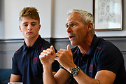 Somerset Director of Cricket Andy Hurry in the press conference with club captain Tom Abell during the 2019 media day at Somerset County Cricket Club at the Cooper Associates County Ground, Taunton, United Kingdom on 2 April 2019.