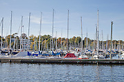 Germany, Berlin, boats docked at Lake Wannsee