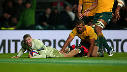 Jonny May of England scores a try - Mandatory by-line: Robbie Stephenson/JMP - 18/11/2017 - RUGBY - Twickenham Stadium - London, England - England v Australia - Old Mutual Wealth Series