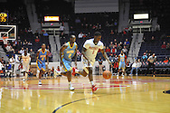 "Ole Miss' guard Martavious Newby (1) vs. Southern University Jaguars guard Adrian Rodgers (2) at the C.M. ""Tad"" Smith Coliseum in Oxford, Miss. on Thursday, November 20, 2014. (AP Photo/Oxford Eagle, Bruce Newman)"