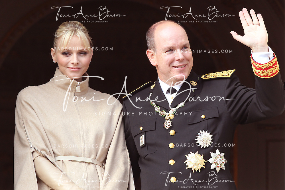 Monaco, Monaco - NOVEMBER 19: HSH Prince Albert II of Monaco and Princess Charlene attend the National Day Parade as part of Monaco National Day Celebrations on November 19, 2011 in Monaco.(Photo by Tony Barson/BARSONIMAGES)