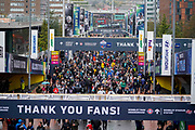 NFL fans arrive at Wembley during the International Series match between Oakland Raiders and Seattle Seahawks at Wembley Stadium, London, England on 14 October 2018.