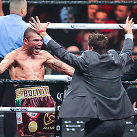 Jose Uzcategui celebrates after he stops Andre Dirrell to win the interim super middleweight world title during the WBC Heavyweight Championship boxing match at Barclays Center on Saturday, March 3, 2018 in Brooklyn, New York. (Alex Menendez via AP)