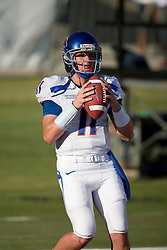 Sep. 18, 2009; Fresno, CA, USA; Boise State Broncos quarterback Kellen Moore (11) before the Fresno State Bulldogs game at Bulldog Stadium.