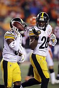 Pittsburgh Steelers wide receiver Antonio Brown (84) holds the ball in the air like a waiter as he celebrates with Pittsburgh Steelers running back Le'Veon Bell (26) after catching a 6 yard touchdown pass that ties the fourth quarter score at 20-20 during the 2017 NFL week 13 regular season football game against the Cincinnati Bengals, Monday, Dec. 4, 2017 in Cincinnati. The Steelers won the game 23-20. (©Paul Anthony Spinelli)