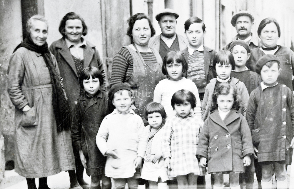French rural village children and adults casual group portrait 1920s