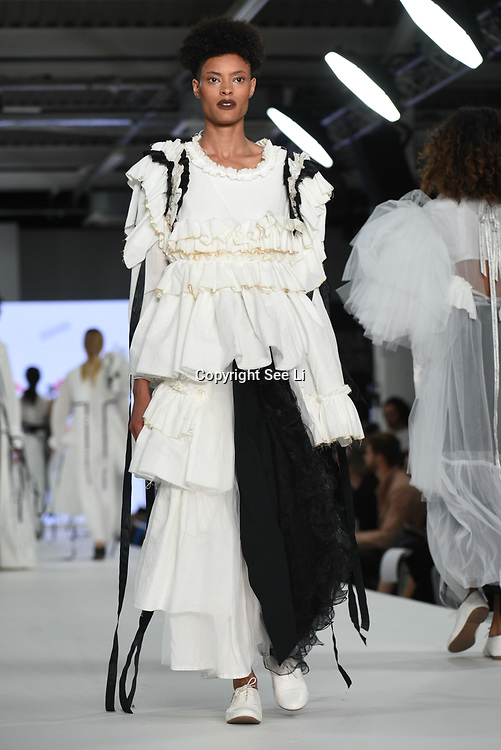 Designer Sophia Parkinson at the Best of Graduate Fashion Week showcases at the Graduate Fashion Week 2018, June 6 2018 at Truman Brewery, London, UK.