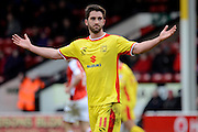 MK Dons goalscorer Will Grigg during the Sky Bet League 1 match between Walsall and Milton Keynes Dons at the Banks's Stadium, Walsall, England on 14 March 2015. Photo by Alan Franklin.