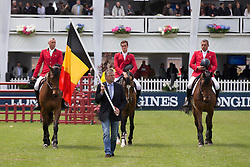 Team Belgium<br /> Philippaerts Olivier and Ludo, Dominique Hendrickx and chef d'equipe Kurt Gravemeier<br /> Furusiyya FEI Nations Cup<br /> CSIO La Baule 2013<br /> © Dirk Caremans