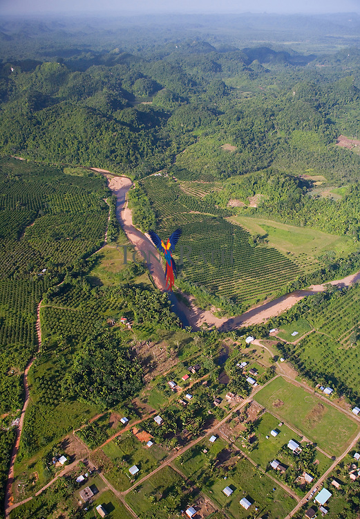 Aerial of St. Margaret's Village on the Hummingbird Highway near 17° 05.8'N 88° 36.7'W, Belize