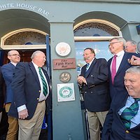 REPRO FREE<br /> Members from the Kinsale and Newport, R.I. twinning committees including Rick O'Neill and Harry Winthrop, Mayor of Newport; Michael Frawley Sr and Michael Frawley Junior from the White House, Kinsale; John Twomey, Chairman of the Kinsale twinning committee and Cllr. Kevin Murphy unveil a plaque at the renaming of the the White House Bar to The Fifth Ward Bar at a ceremony in Kinsale today. <br /> Picture. John Allen