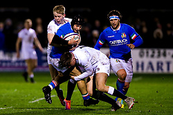 Ollie Hassell-Collins of England U20 tackles Cristian Lai of Italy U20 - Mandatory by-line: Robbie Stephenson/JMP - 08/03/2019 - RUGBY - Goldington Road - Bedford, England - England U20 v Italy U20 - Six Nations U20