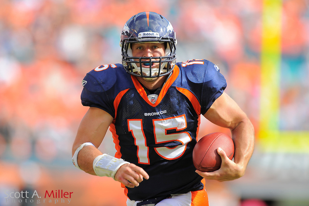 Denver Broncos quarterback Tim Tebow (15) in action during the Broncos 18-15 OT win over the Miami Dolphins at Sunlife Stadium on Oct. 22, 2011 in Miami Gardens, Fla. ..©2011 Scott A. Miller