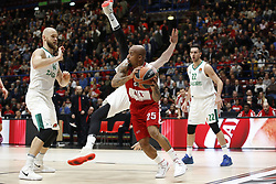 November 9, 2017 - Assago, Milan, Italy - Jordan Theodore (#25 AX Armani Exchange Milan) looks for a pass during a game of Turkish Airlines EuroLeague basketball between  AX Armani Exchange Milan vs Zalgiris Kaunas at Mediolanum Forum on November 9, 2017 in Milan, Italy. (Credit Image: © Roberto Finizio/NurPhoto via ZUMA Press)