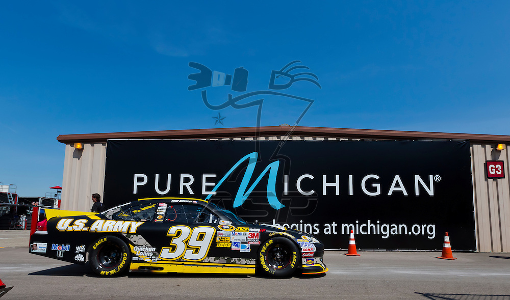 BROOKLYN, MI - JUN 15, 2012:  Ryan Newman (39) brings his car back into the garage area during a practice for the Quicken Loans 400 at the Michigan International Speedway in Brooklyn, MI.