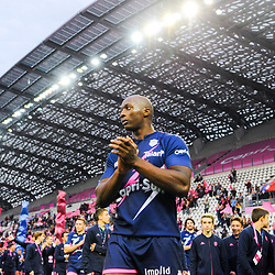 Sekou MACALOU of Stade Francais celebrates the victory during the Top 14 match between at Stade Jean Bouin on October 13, 2019 in Paris, France. (Photo by Sandra Ruhaut/Icon Sport) - Sekou MACALOU - Stade Jean Bouin - Paris (France)