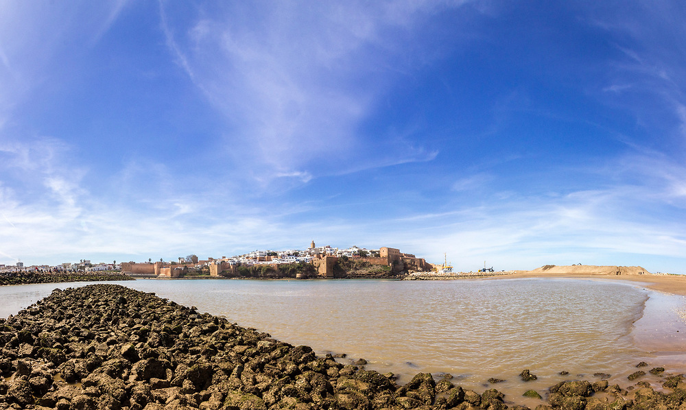 View of Kasbah of the Udayas and ancient Medina in Rabat from the harbor in Sale, Morocco.