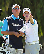 CAPE TOWN, SOUTH AFRICA, Monday 27 February 2011,  Brandon Stone (right) with his father, Kevin, on the first tee box during the Sanlam SA Amateur Championship held at the Mowbray Golf Club..Photo by Roger Sedres/ImageSA