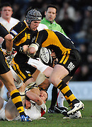 Wycombe, Great Britain, Tom REES right and James HASKELL combine to drive the ball on, during the Guinness Premiership Game London Wasps vs Newcastle Falcon at Adams Park, England, on Sunday 25/11/2007   [Mandatory Credit. Peter Spurrier/Intersport Images]