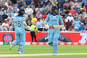 Joe Root of England batting with Eoin Morgan of England during the ICC Cricket World Cup 2019 semi final match between Australia and England at Edgbaston, Birmingham, United Kingdom on 11 July 2019.