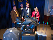 09 MAY 2011 - PHOENIX, AZ: RUSSELL PEARCE, President of the Arizona State Senate, Governor JAN BREWER and TOM HORNE, (CENTER) Attorney General of Arizona, during a press conference at the Arizona State Capitol in Phoenix Monday. Governor Jan Brewer, State Senate President Russell Pearce and Attorney General Tom Horne, all Republicans, held one press conference to announce that the state was suing to take its legal battle over SB1070, Arizona's tough anti-immigration law, past the US Court of Appeals and straight to the US Supreme Court. State Senator Steve Gallardo, a Democrat, held a press conference to announce that he was opposed to the Republican's legal actions and called on them to drop the suit altogether. Isolated shouting matches broke out between activists on both sides of the immigration issue during the press conferences.       Photo by Jack Kurtz