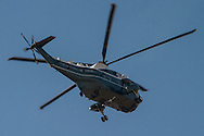 Marine One flying over Washington DC, on it's approach to the White House.