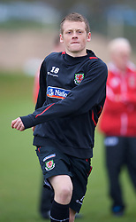 SWANSEA, WALES - Monday, March 30, 2009: Wales' Under-21 Jake Taylor training at the Glamorgan Health & Racquets Club ahead of the UEFA Under-21 Championship Qualifying group 3 match. (Photo by David Rawcliffe/Propaganda)