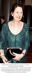 BARONESS BLACKSTONE at a dinner in London on 30th May 2002.	PAN 80