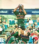 ZURICH PREMIER LEAGUE; Harlequins v London Irish<br /> 19-8-00<br /> Ex's Quin, Chris Sheasby towers above his former team mates at the Stoop as L'Irish take a win against their ground share partners of last season.