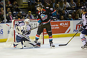 KELOWNA, CANADA - OCTOBER 21:  Beck Warm #35 of the Tri-City Americans makes a save against Tomas Soustal #15 of the Kelowna Rockets at the Kelowna Rockets game on October 21, 2016 at Prospera Place in Kelowna, British Columbia, Canada.  (Photo By Cindy Rogers/Nyasa Photography,  *** Local Caption ***
