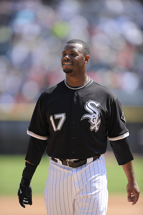 CHICAGO - AUGUST 14:  Ken Griffey Jr. #17 of the Chicago White Sox looks on during the game against the Kansas City Royals at U.S. Cellular Field in Chicago, Illinois on August 14, 2008.  The White Sox defeated the Royals 9-2.  (Photo by Ron Vesely)