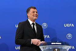 NYON, SWITZERLAND - Friday, July 10, 2020: Former Bayern Munich player Thomas Helmer during the UEFA Champions League and UEFA Europa League 2019/20 draws for the Quarter-final, Semi-final and Final at the UEFA headquarters, The House of European Football. (Photo Handout/UEFA)