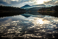 Seeing the Light. Morning cloud reflections on Evergreen Lake, Evergreen, Colorado.