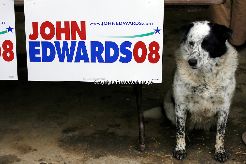 Casey, a border collie, sits as U.S. Democratic presidential candidate John Edwards speaks to potential voters during a campaign stop in Harlan, Iowa, October 16, 2007.