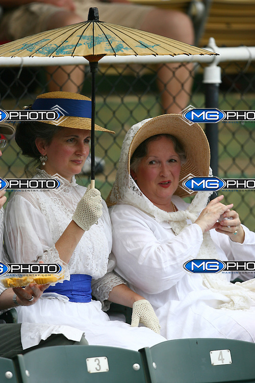 June 2, 2010; Birmingham, AL, USA; Fans wear vintage clothing to the 15th Annual Rickwood Classic which involved the Birmingham Barons and the Tennessee Smokies for the 100th year of baseball at the field. Mandatory credit  Marvin Gentry