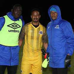 DURBAN, SOUTH AFRICA - AUGUST 23: Richard Ofori Goalkeeper of Maritzburg Utd with Bongani Mpandle Goalkeeper of Maritzburg Utd and Arthur Bartman - Goalkeeper Coach of Maritzburg Utd during the Absa Premiership match between Maritzburg United and Ajax Cape Town at Harry Gwala Stadium on August 23, 2017 in Durban, South Africa. (Photo by Steve Haag/Gallo Images)