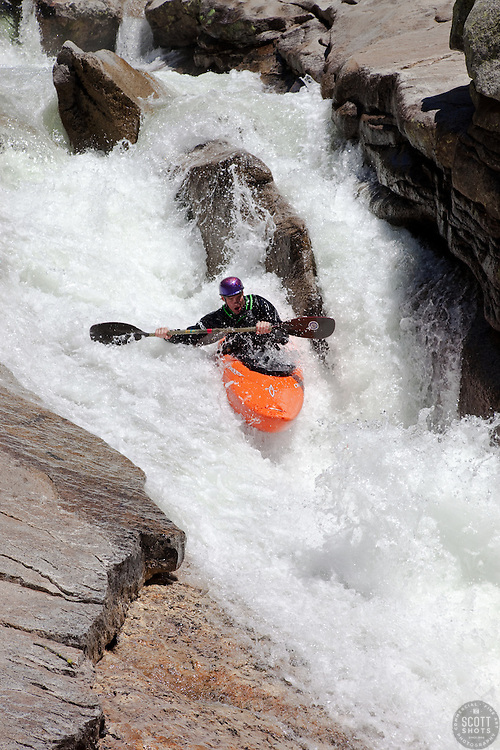"""Kayaker on Silver Creek 8"" - This kayaker was photographed on Silver Creek - South Fork, near Icehouse Reservoir, CA."