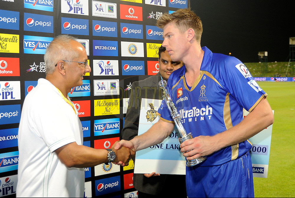 James Faulkner of the Rajatshan Royals receives the man of the match award during the presentation after match 19 of the Pepsi Indian Premier League 2014 Season between The Kolkata Knight Riders and the Rajasthan Royals held at the Sheikh Zayed Stadium, Abu Dhabi, United Arab Emirates on the 29th April 2014<br /> <br /> Photo by Pal Pillai / IPL / SPORTZPICS
