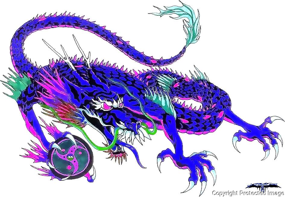 Blue Chinese Dragon originally designed for a Martial Arts Dojo using symbols.