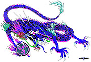 Blue Chinese Dragon originally designed for a Martial Arts Dojo using symbols.