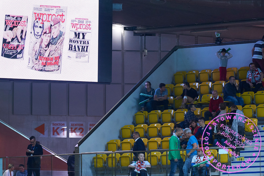 Wprost Weekly Magazine advertise on display board during Davis Cup Tie World Group Play-off Poland v Slovakia at Gdynia Arena Hall in Gdynia, Poland.<br /> <br /> Poland, Gdynia, September 18, 2015<br /> <br /> Picture also available in RAW (NEF) or TIFF format on special request.<br /> <br /> For editorial use only. Any commercial or promotional use requires permission.<br /> <br /> Adam Nurkiewicz declares that he has no rights to the image of people at the photographs of his authorship.<br /> <br /> Mandatory credit:<br /> Photo by &copy; Adam Nurkiewicz / Mediasport